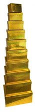 Set Of 10 Holographic Nested Oblong Gift Boxes - Gold Metallic Squares