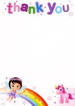 Pack Of 20 Children's Thank You Notes & Envelopes - Fairy, Unicorn & Big Rainbow