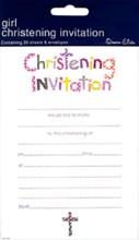Pack Of 20 Christening Day Invites & Envelopes - Girl's Pastel Text & Grey Cross