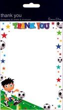 Pack Of 20 Children's Thank You Notes & Envelopes - Boy's Football Design