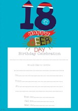 Pack Of 20 18th Birthday Party Invitation Sheets & Envelopes - 18th Male