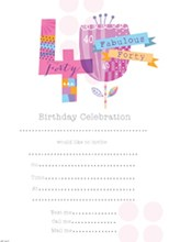 Pack Of 20 40th Birthday Party Invitation Sheets & Envelopes - 40th Female