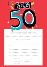 Pack Of 20 50th Birthday Party Invitation Sheets & Envelopes - 50th Male