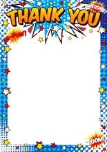 Pack Of 20 Children's Thank You Notes & Envelopes - Comic Strip Slogans