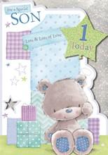 "Vibrance Son Handcrafted 1st Birthday Card - Bear & 1 Today Balloon 9.5"" x 6.75"""
