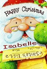 "Open Personalised Christmas Card - Any Name - Cute Santa & Big List 7.5"" x 5.25"""