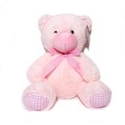 "13.5"" Pink Baby Girl Teddy Bear Soft Toy Plush Wearing Pink & White Check Ribbon"
