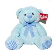 "13.5"" Blue Baby Boy Teddy Bear Soft Toy Plush Wearing Blue & White Check Ribbon"