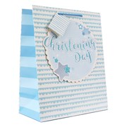 "Medium Blue Christening Boy Gift Bag - Blue Button Star with Glitter 9x7"""