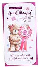 """Mummy Mother's Day Card - Cute Bear with Rosette and Pink Foil  9""""x4.75"""""""