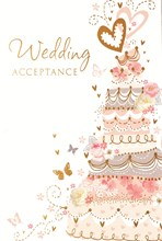 "Wedding Day Acceptance Card & Envelope - Orange Cake & Butterflies 5.5"" x 3.5"""