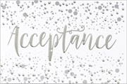"Open Acceptance Card & Envelope - Silver Metallic Text & Spots 5.5"" x 3.5"""