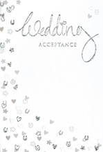 """Wedding Day Acceptance Card & Envelope - Silver Foiled Hearts Horseshoe 5.5x3.5"""""""