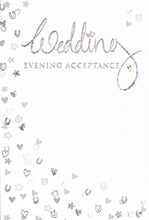 """Wedding Evening Acceptance Card - Silver Foiled Hearts Horseshoe 5.5x3.5"""""""