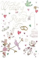 "Wedding Day Regret Card & Envelope - Birdcage Top Hat Rings Silver Foil 5.5x3.5"""