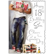 """Jonny Javelin Son 18th Birthday Card - 18 Today Man & Crate Of Beer 9"""" x 6.25"""""""