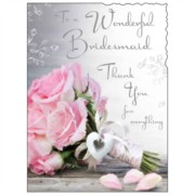 "Jonny Javelin Thank You Bridesmaid Greetings Card - Pink Flowers 7.25"" x 5.5"""
