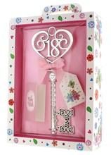 Silver Age 18 Female Keepsake Key & Bright Presentation Box - 18th Birthday Gift