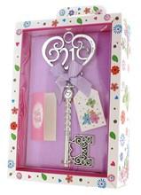 Silver Age 21 Female Keepsake Key & Bright Presentation Box - 21st Birthday Gift