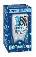 Happy Birthday 18 Celebration Beer Glass & Blue Presentation Box - 18th Gift