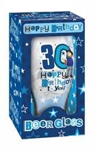 Happy Birthday 30 Celebration Beer Glass & Blue Presentation Box - 30th Gift