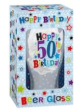 Happy Birthday 50 Celebration Beer Glass & Blue Presentation Box - 50th Gift