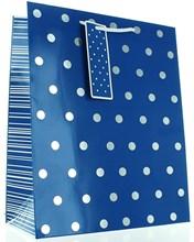 "Large Male Gift Bag - Vibrant Deep Blue & Silver Metallic Polka Dots 13"" x 10.5"""