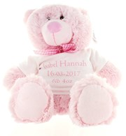 "13.5"" Pink Baby Girl Teddy Bear Soft Toy Plush & Personalised White T Shirt"