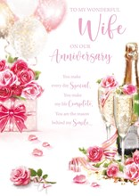 """Wife Anniversary Card - Pink Roses and Champagne with Embossed Foil 10x7"""""""