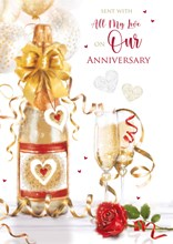 """Our Wedding Anniversary Card - Champagne Bottle Glasses with Embossed Foil 10x7"""""""