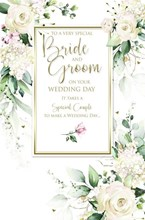 """Wedding Day Card - Roses and Leaves with Gold Embossed Foil 9x6"""""""