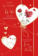 """Wife Anniversary Card - Red Roses in Hearts with Gold Embossed Foil 9x6"""""""