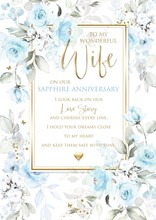 """Wife 45th Sapphire Anniversary Card 6 Page Verse Insert with Gold Foil 10x7"""""""