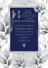 """Husband 25th Silver Anniversary Card 6 Page Verse Insert with Gold Foil 10x7"""""""