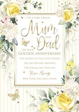 """Mum & Dad 50th Golden Anniversary Card 6 Page Verse Insert Gold Foil 10x7"""""""