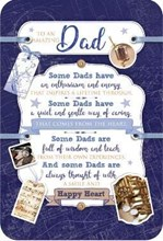 """Dad Birthday Card with Verse - Blue with Musical Notes and Gold Foil 9x6"""""""