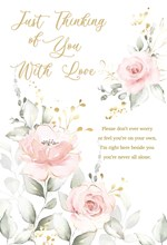 """Thinking of You Card - Pink Roses with Gold Embossed Foil 9x6"""""""