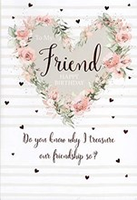 """Friend Birthday Card - Pink Floral Heart with Rose Gold Foil Hearts 8.25x5.5"""""""
