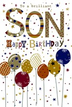 """Son Birthday Card - Brown and Gold Balloons with Glitter and Foil 9x6"""""""