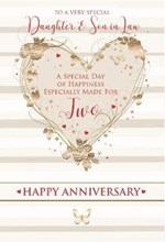 Daughter & Son-in-Law Anniversary Card Gold Embossed Foil Heart Red Writing 9x6""