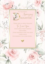 """Daughter Birthday Card with 6 Page Verse Insert Pink Floral with Gold Foil 10x7"""""""