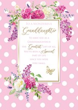 """Granddaughter Birthday Card with 6 Page Verse Insert Floral Gold Foil 10x7"""""""