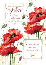 """Sister Birthday Card with 6 Page Verse Insert - Red Poppy's with Gold Foil 10x7"""""""