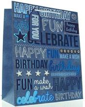 "Large Male Gift Bag - Modern Blue & White Denim Happy Birthday Text 13"" x 10.5"""