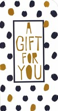 "Money Wallet Gift Card & Envelope - Black Spots & Gold Metallic Text 7"" x 3.5"""