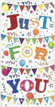 Money Wallet Gift Card & Envelope - Bright Coloured Text Bunting Balloons 7x3.5""