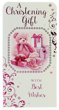 "Money Wallet Gift Card & Envelope - Christening Girl  With Pink Foil  7x3.5"""