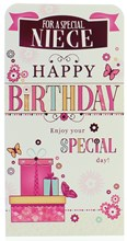 """Money Wallet Gift Card & Envelope- Niece Gifts & Flowers With Pink Foil  7x3.5"""""""