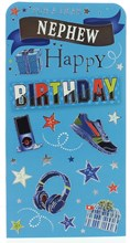 """Money Wallet Gift Card & Envelope Nephew Blue With Trainers Silver Foil 7x3.5"""""""