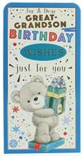 "Money Wallet Gift Card & Envelope- Great Grandson Bear With Gold Foil  7x3.5"""
